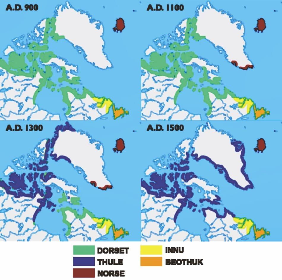 Die Arktis wurde mehrfach von verschiedenen Kulturen besiedelt, die ihre Spuren in den Regionen hinterlassen hatten. Nachfolgende Kulturen bestritten häufig an denselben Orten mit weiterentwickelten Methoden und Werkzeugen ihre Lebensgrundlagen. Bild: Wikipedia (modifiziert)